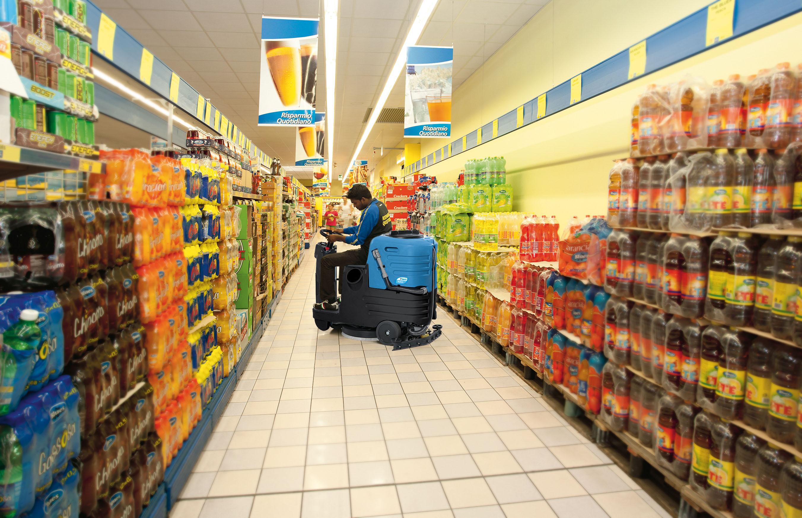 máy lau sàn siêu thị trường học
